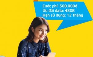 Sim viettel D500 ưu đãi hấp dẫn với 48Gb data cho 1 năm sử dụng