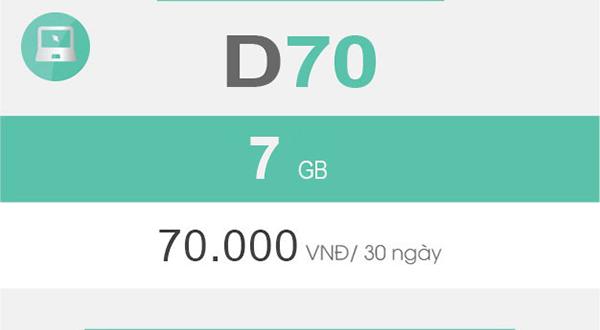 Gói D70 là gói cước Dcom theo tháng được nhiều khách hàng yêu thích